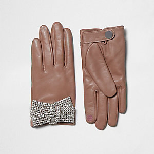 Pink leather dimante embellished gloves