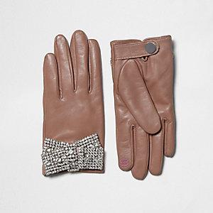 Roze leren handschoenen met stras