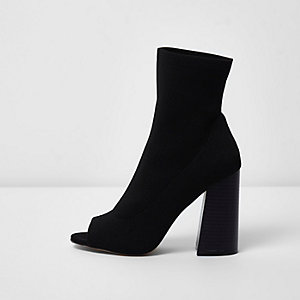 Black peep toe heeled knit sock boots