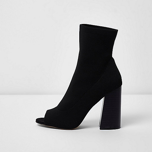 Black peep toe heeled knit sock boots