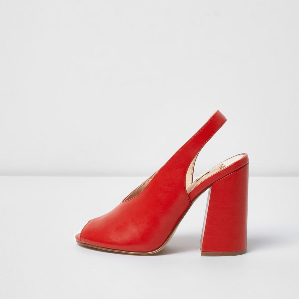 Red high vamp block heel sandals