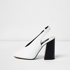 White high vamp contrast block heel sandals