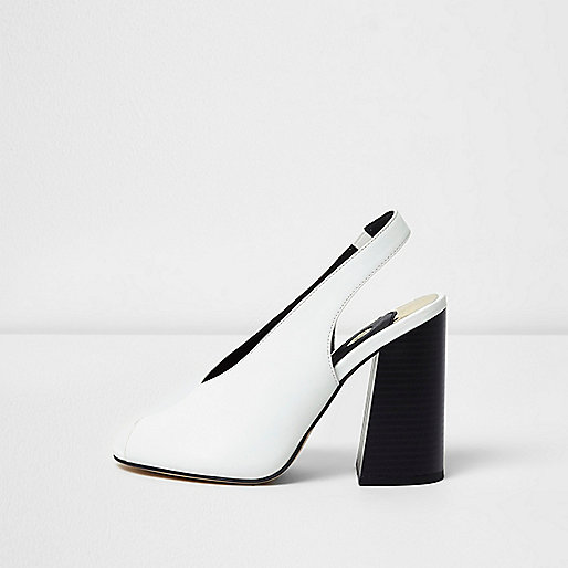 White high vamp contrast block heel sandals