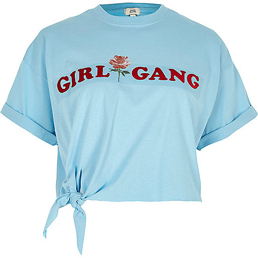 Blue 'girl gang' knot front cropped T-shirt