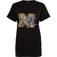 Black 'NYC' sequin boyfriend T-shirt
