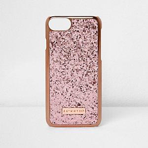 Coque de téléphone Skinny Dip dorée et rose à paillettes