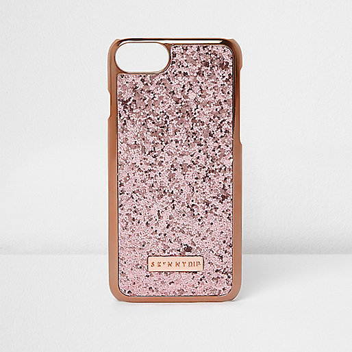 Gold and pink Skinny Dip glitter phone case