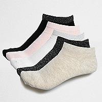 Schwarze, glitzernde Sneaker-Socken, Multipack