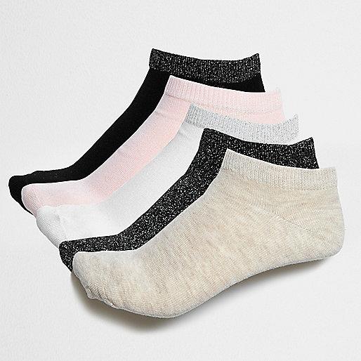 Black glitter sneaker socks multipack