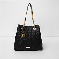 Black quilted chain slouch tote bag