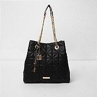 Zwarte doorgestikte handtas met ketting