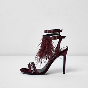 Dark read feather embellished sandals