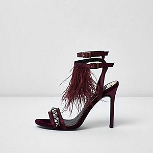 Dark red feather embellished sandals