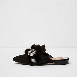 Black faux fur trim buckle backless loafers