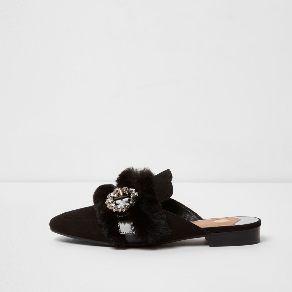 Black faux fur trim buckle backless loafers