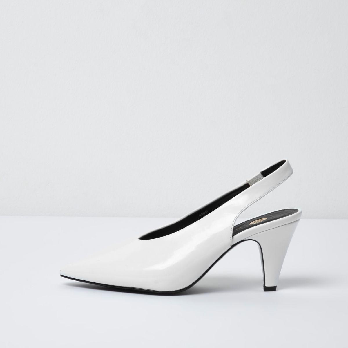 White high vamp slingback kitten heels