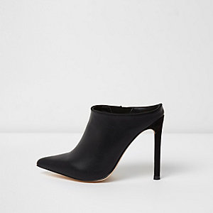 Black pointed toe stiletto mules