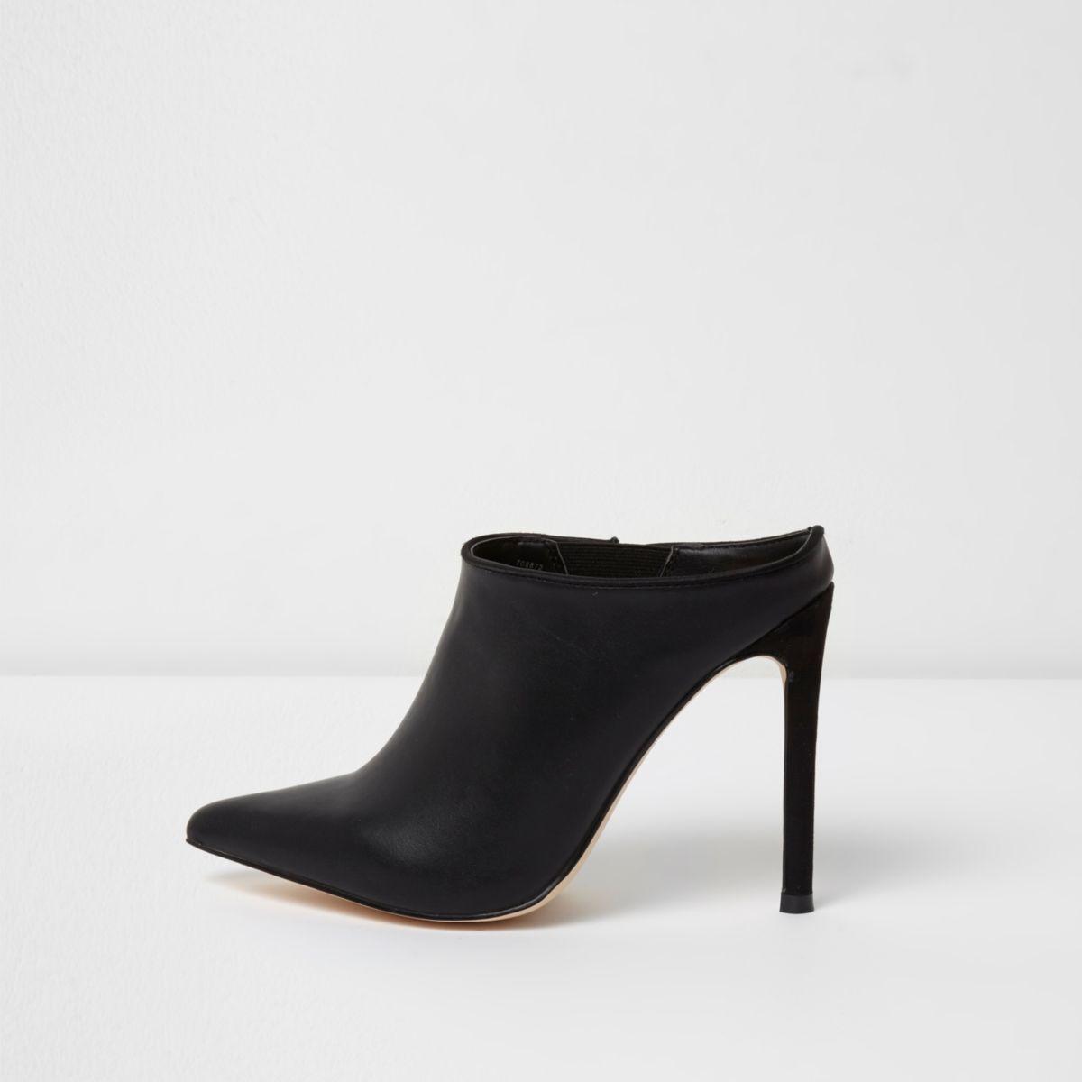 Black pointed toe stiletto mules