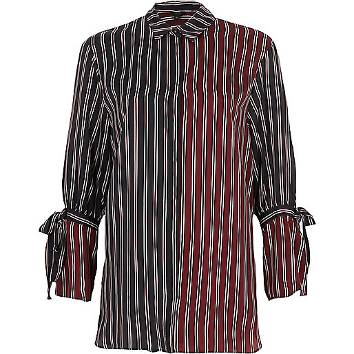 Navy and red split stripe tie cuff shirt