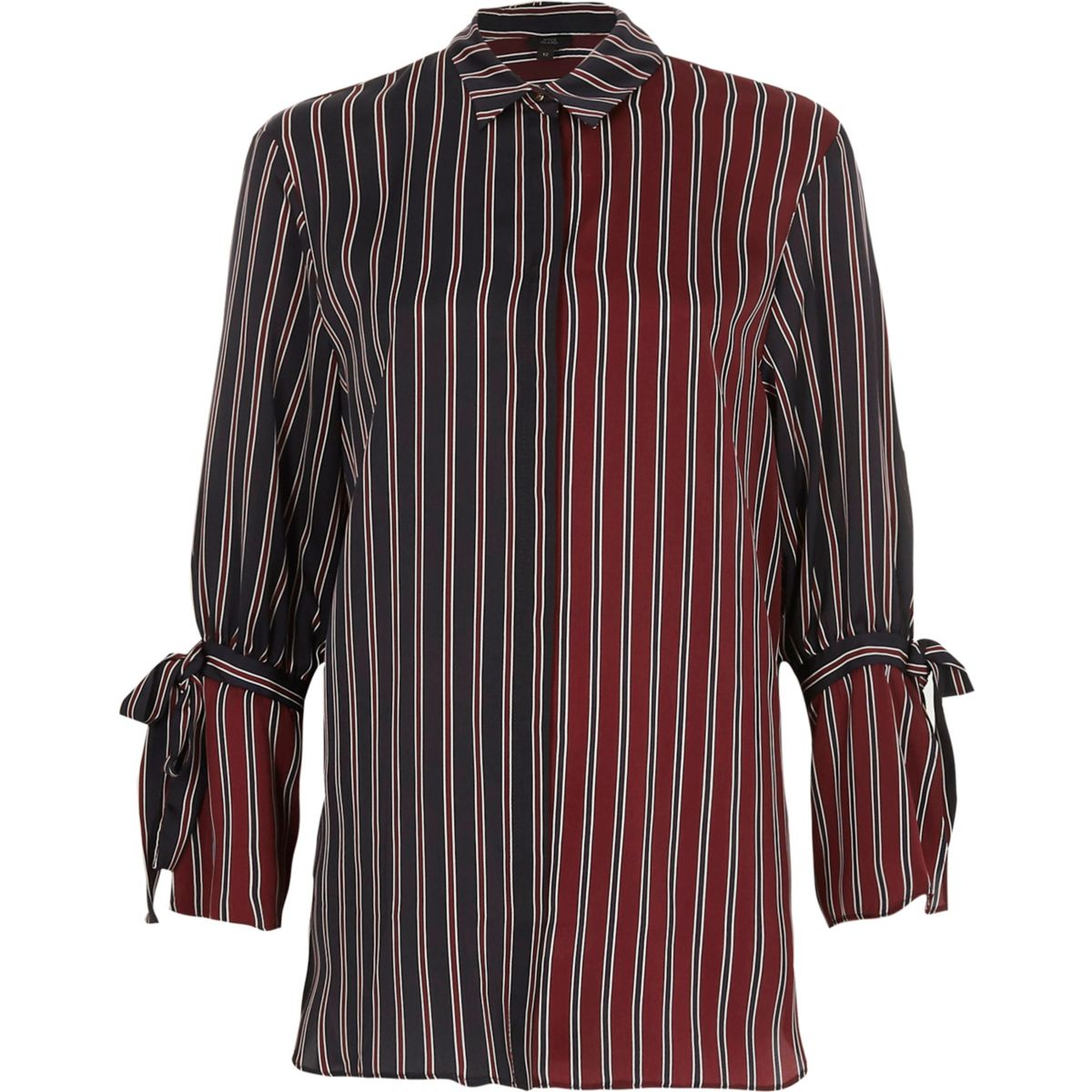 Navy and red split stripe tie cuff shirt