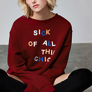 Ashish – Pull avec inscription « Sick of it all » rouge
