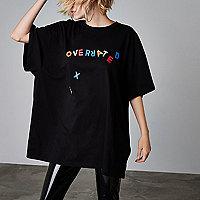 Ashish – T-shirt à inscription « Overrated » noir