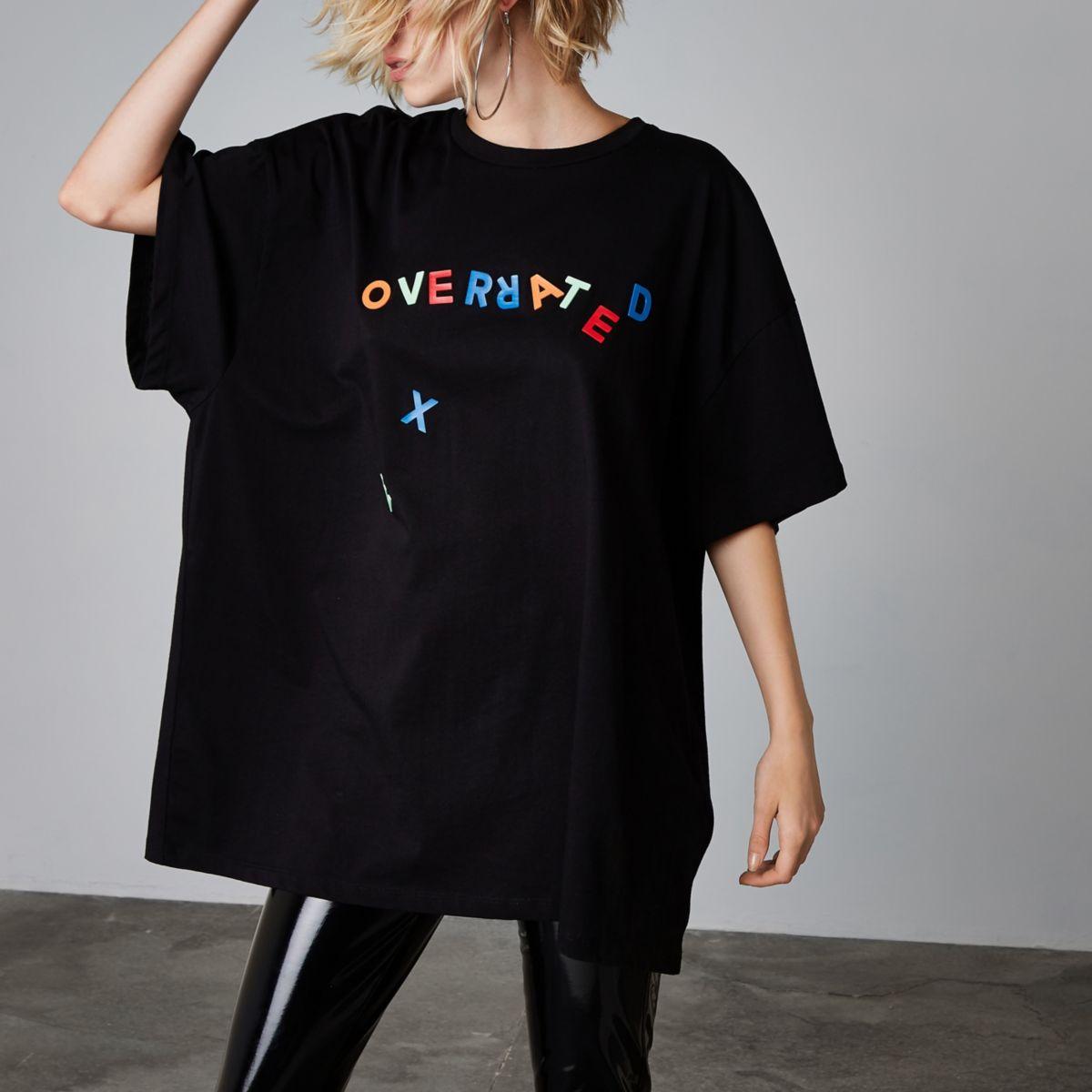 Ashish - Zwart T-shirt met 'Overrated'-print