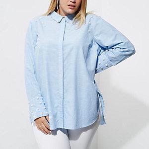 Plus – Blaues Hemd mit Kunstperlenverzierung