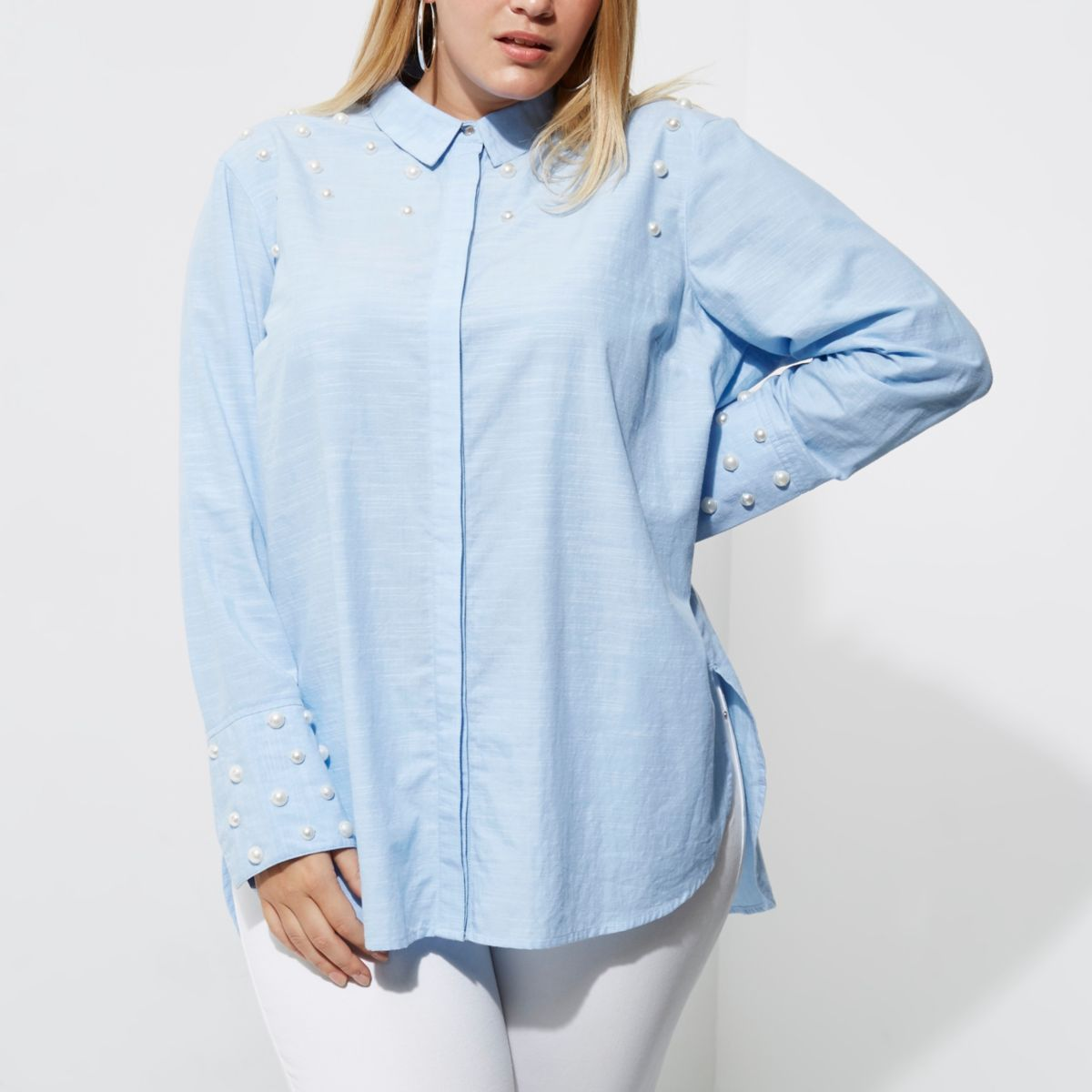 Plus blue faux pearl embellished shirt