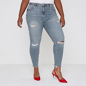 RI Plus - Alannah - Blauwe ripped relaxte skinny jeans