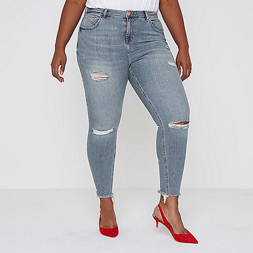 Plus blue ripped Alannah relaxed skinny jeans
