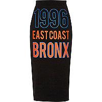 """Schwarzer Jersey-Bleistiftrock """"1996 Bronx"""""""