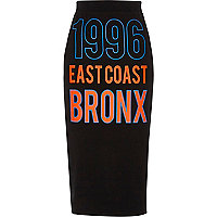Black '1996 Bronx' jersey pencil skirt