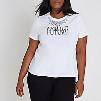 Plus white 'female future' necklace T-shirt