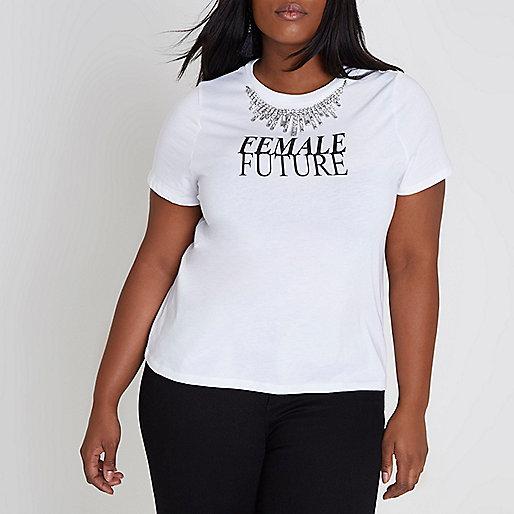 Plus white 'female future' necklace T-shirt