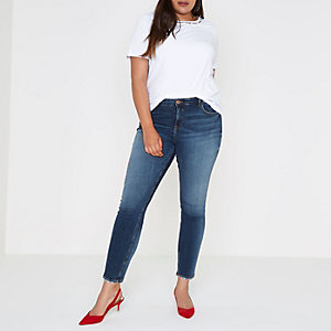 Plus white cut our faux pearl neck T-shirt