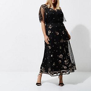 Plus – Robe longue noire ornée de fleurs
