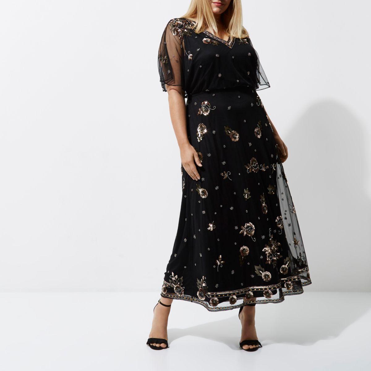 RI Plus - Zwarte verfraaide gebloemde maxi-jurk