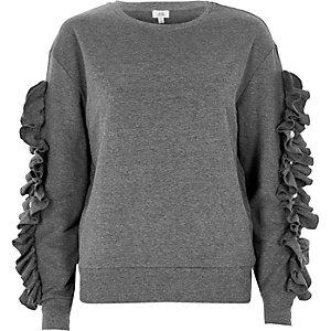 Grau meliertes Sweatshirt mit Rüschenärmeln