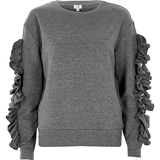 Grey marl frill sleeve sweatshirt