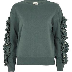 Khaki frill sleeve sweatshirt