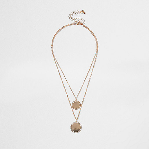 Gold tone double disk multi row necklace