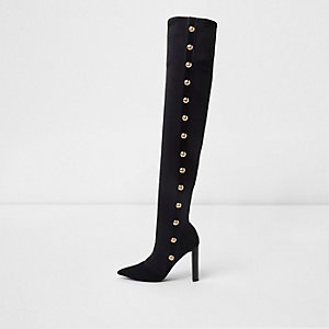 Black studded over the knee pointed boots