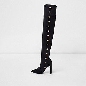 Zwarte puntige laarzen tot over de knie met studs