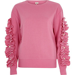 Pink long ruffle sleeve sweatshirt
