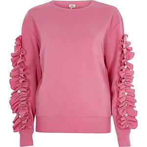 Pink long ruffle sleeve sweatshirt