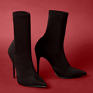 Black pointed scuba stiletto sock boots