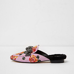 Pink floral embroidered bow backless loafers