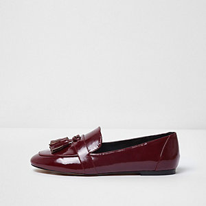 Dark red patent tassel loafers