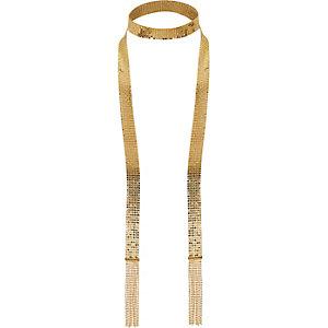 Goldener Schal mit Quasten